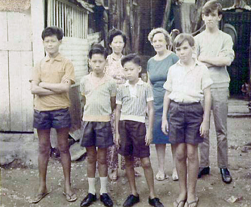 Patrick Micheal and Mum with the amah's family in Johore Barhu - Copy