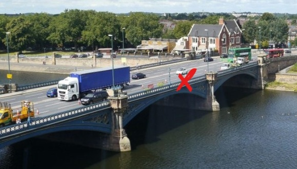 Trent Bridge looking towards the City. The red X marks the spot where the mini was burning.