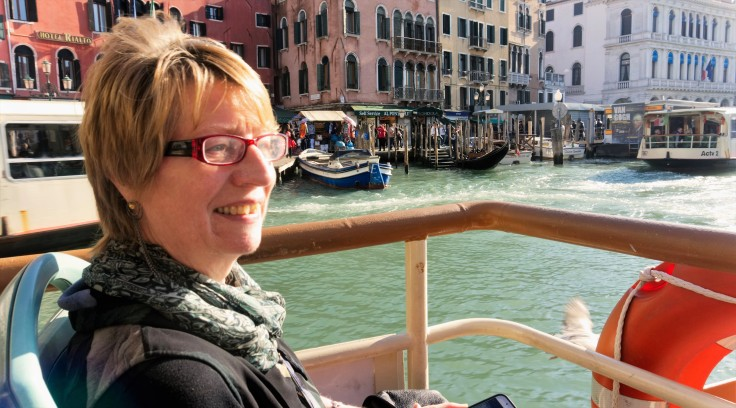patricia on the grand canal bus